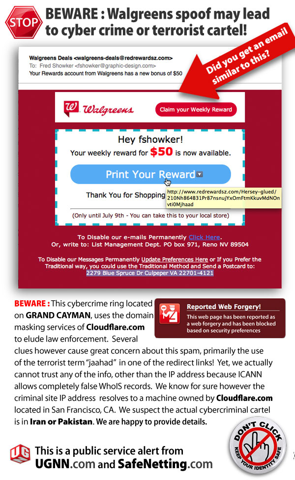 ALERT : Walgreens spoof may take you to cybercrime or